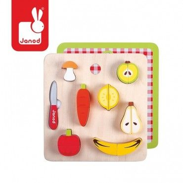 JANOD Vegetables and fruit set of magnetic wooden chopping board