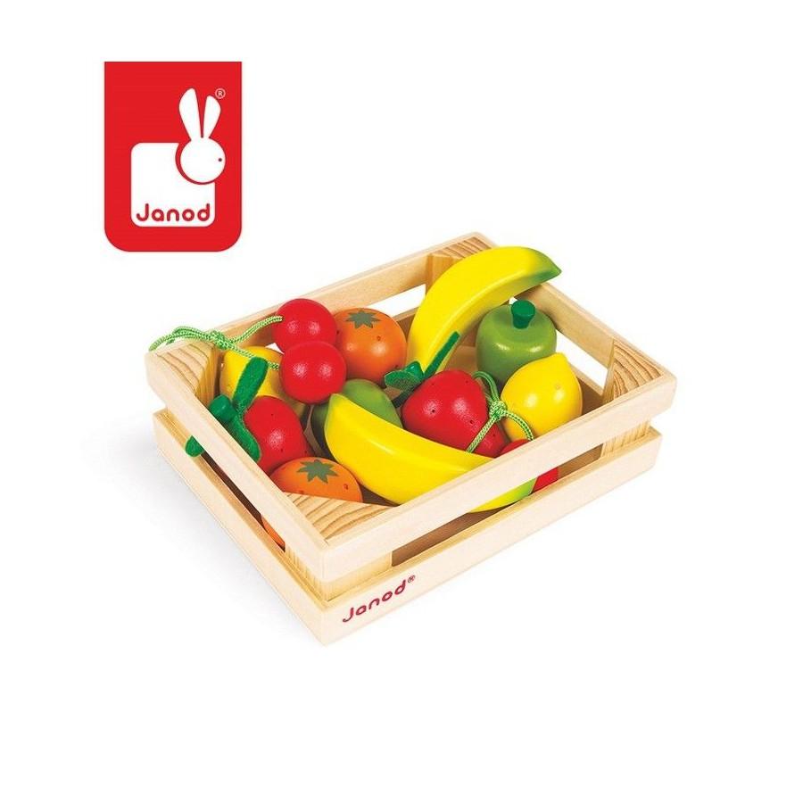 JANOD Owoce drewniane 12 szt. w skrzyneczce