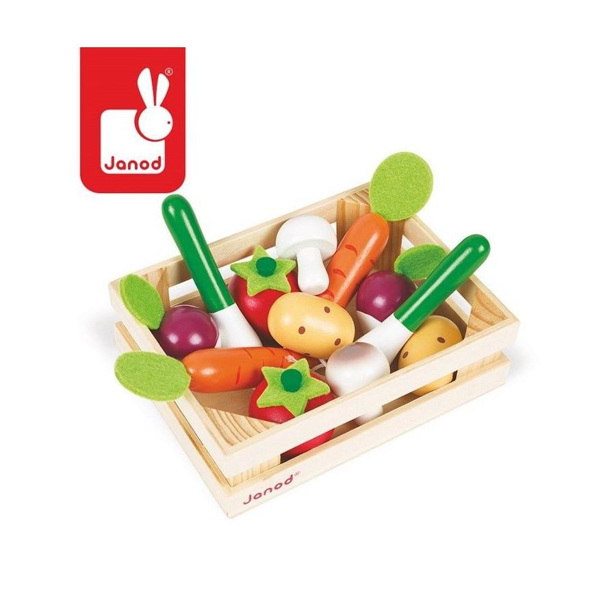Warzywa drewniane 12 szt. w skrzyneczce, Janod