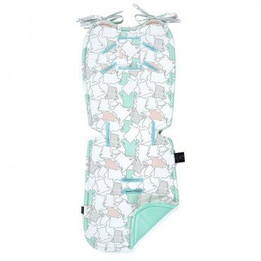 LA MILLOU THICK STROLLER PAD ILOVEPANDA PURE MINT BY MARTA ŻMUDA-TRZEBIATOWSKA VELVET COLLECTION
