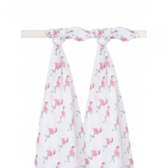 Jollein Otulacze 115x115cm Flamingi 2 sztuki