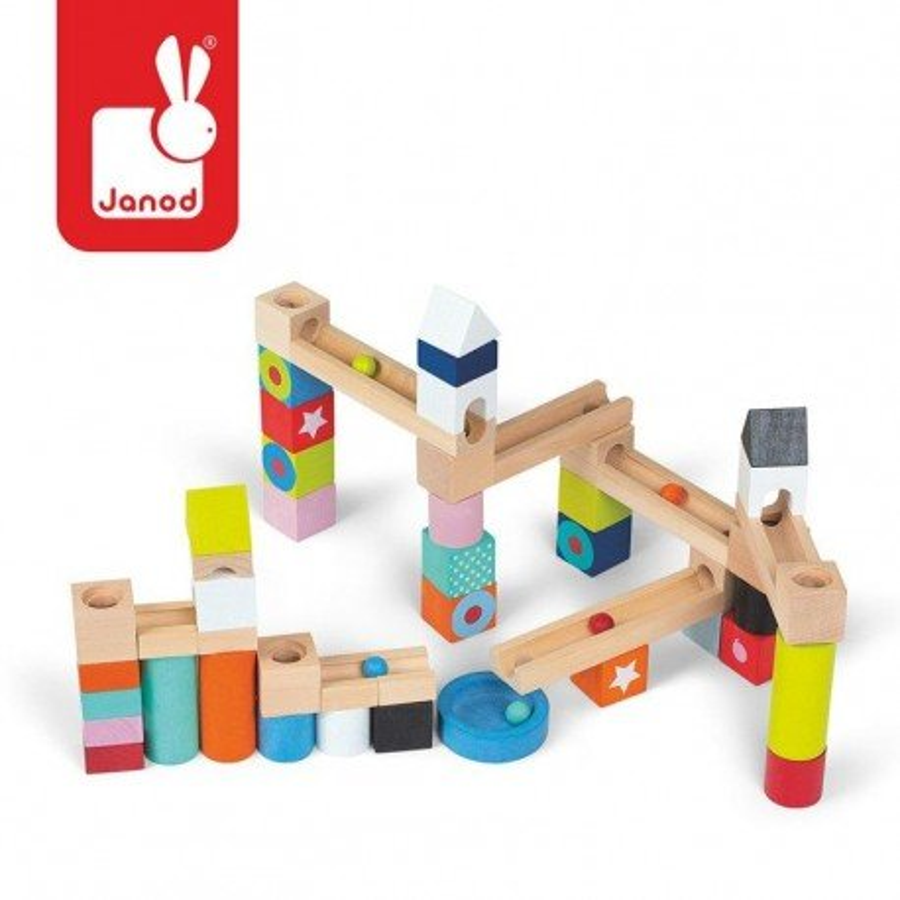 Wooden blocks JANOD track ball 50 pieces Kubix