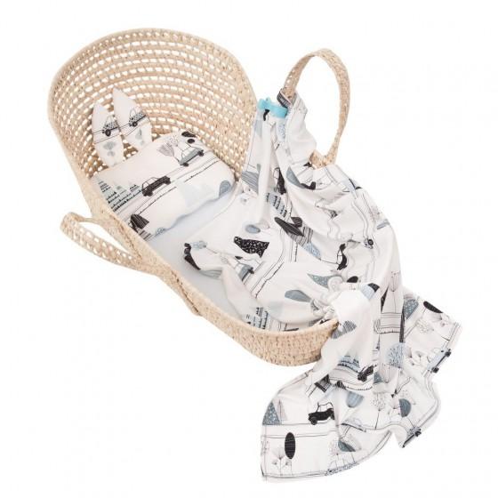 Samiboo - Bambusowy zestaw bambino maluszek otulacz/lekki kocyk z frędzlami i poduszka z USZKAMI niebieska wypustka