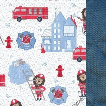 LA MILLOU ZESTAW KID KIT BRAVEHEART LION BLUE DENIM VELVET COLLECTION BY MACIEJ ZAKOŚCIELNY