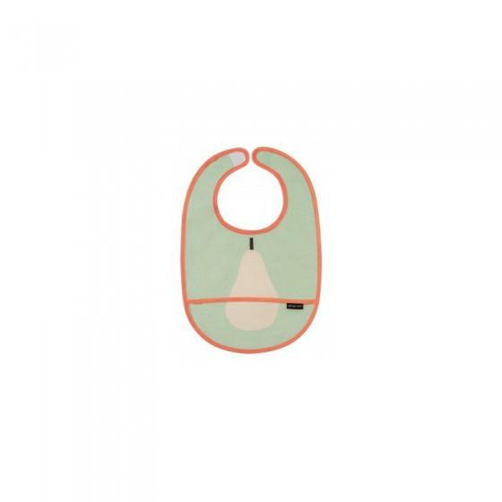 MAISON PETIT JOUR COTTON Waterproof bib with pocket PINK PEAR