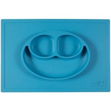 EZPZ silicone plate washer 2in1 Happy Mat blue