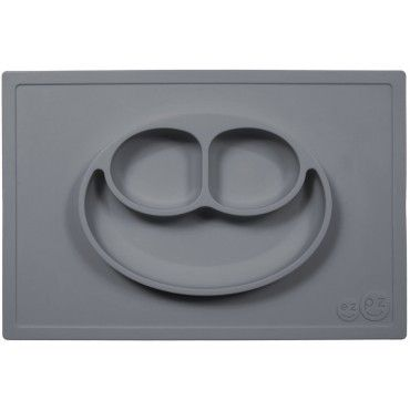 EZPZ silicone plate washer 2in1 Happy Matt Gray