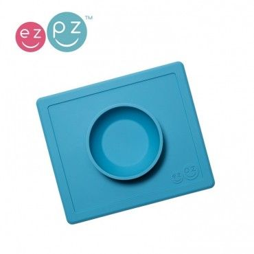 EZPZ bowl Silicone bowl washer 2in1 Happy Blue Bowl