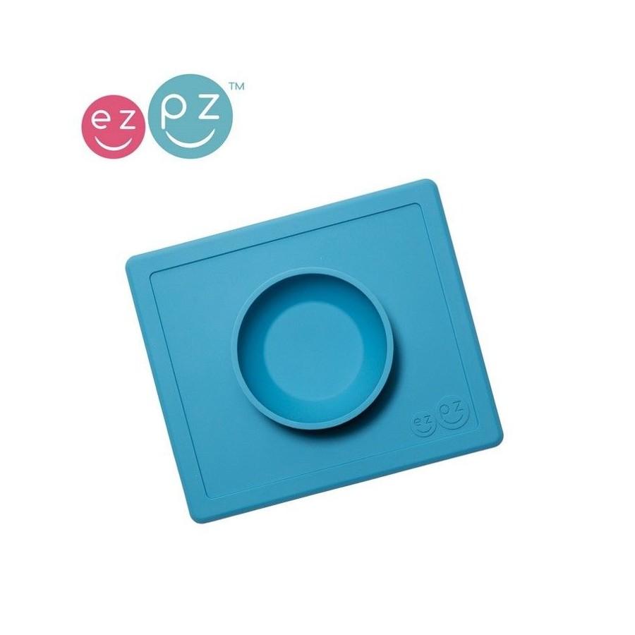 EZPZ Silikonowa miseczka miska z podkładką 2w1 Happy Bowl niebieska