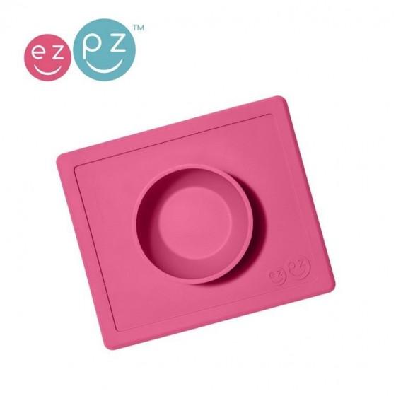 EZPZ Silikonowa miseczka miska z podkładką 2w1 Happy Bowl różowa