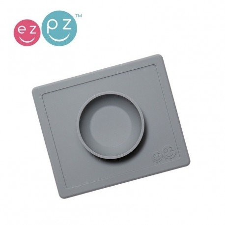 EZPZ bowl with silicone pad 2in1 Happy Bowl Gray
