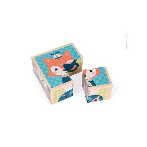Klocki drewniane Puzzle 6w1 Las, Janod