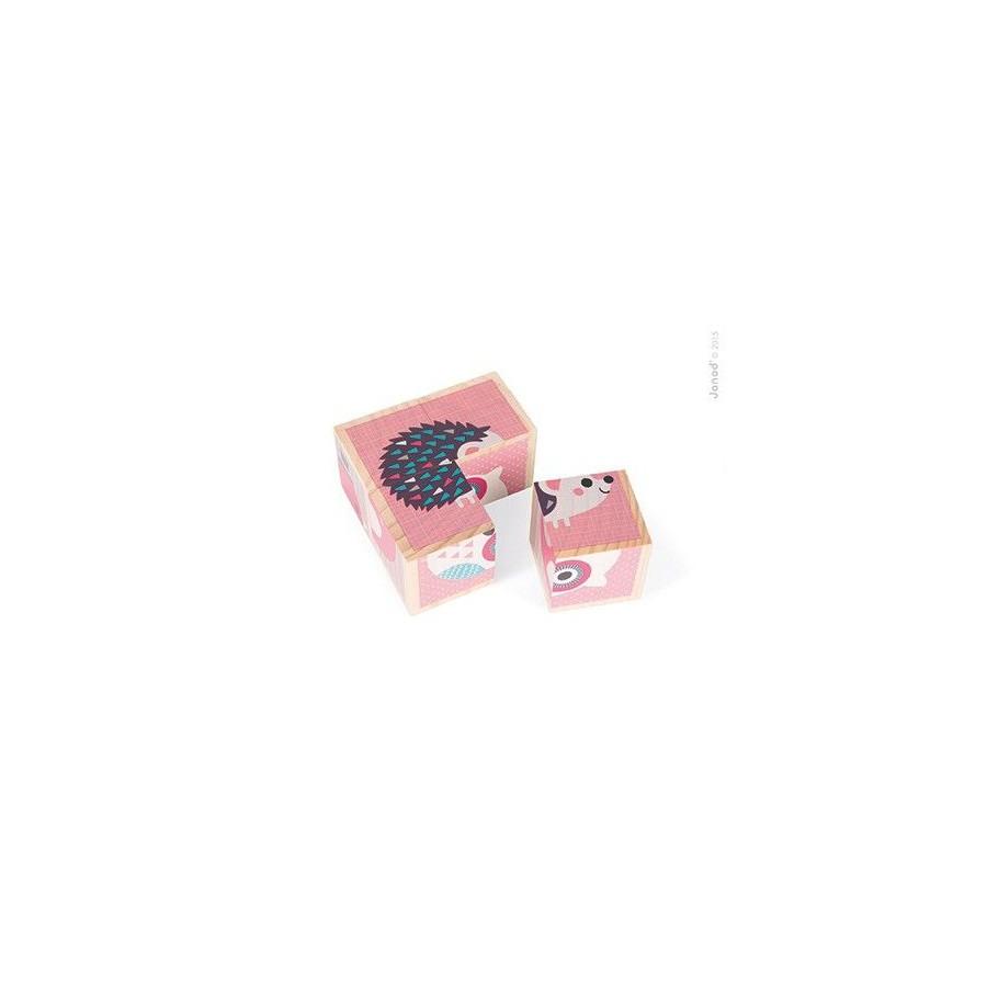 Janod Klocki drewniane Puzzle 6w1 Zwierzątka