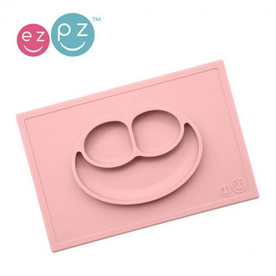 EZPZ Silikonowy talerzyk z podkladka 2w1 Happy Mat pastelowy róz