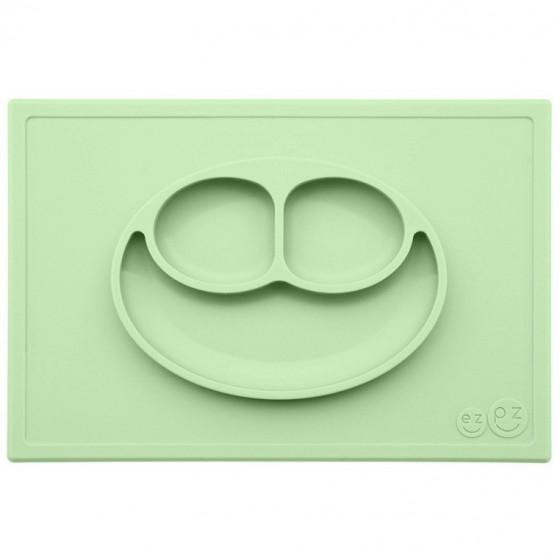 EZPZ Silikonowy talerzyk z podkladka 2w1 Happy Mat pastelowa zielen