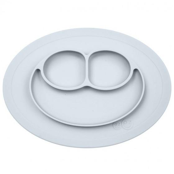 EZPZ Silikonowy talerzyk z podkladka maly 2w1 Mini Mat pastelowa szarosc