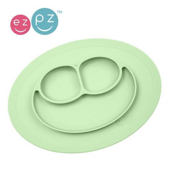 EZPZ Silikonowy talerzyk z podkladka maly 2w1 Mini Mat pastelowa zielen