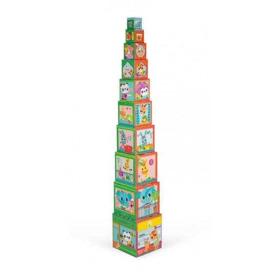Janod Piramida wieza 10 kostek Przyjaciele z miasta