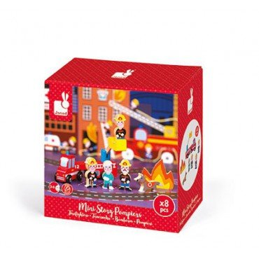 Janod Firemen set of wooden elements 8 Story Collection
