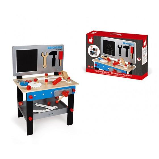 Janod Stolik warsztat drewniany magnetyczny z 24 elementami Brico 'Kids kolekcja 2018