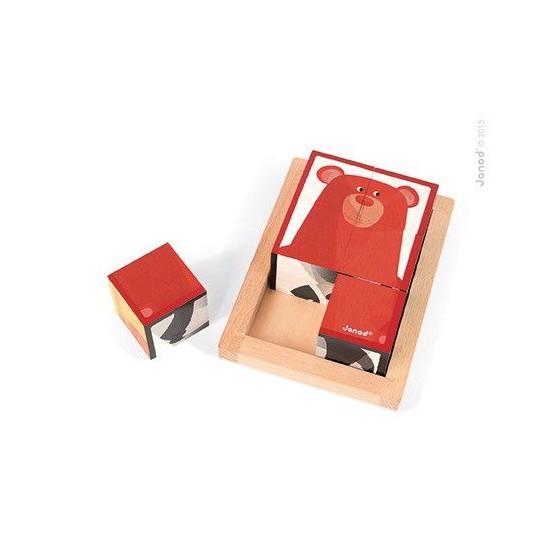 Klocki drewniane 6 elementów puzzle Baby Forest, Janod