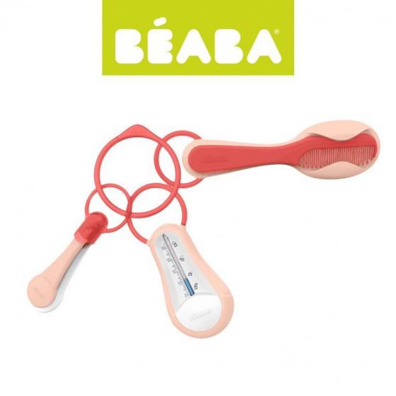 Beaba Akcesoria do pielegnacji: termometr do kapieli obcinaczka szczoteczka i grzebien nude/coral