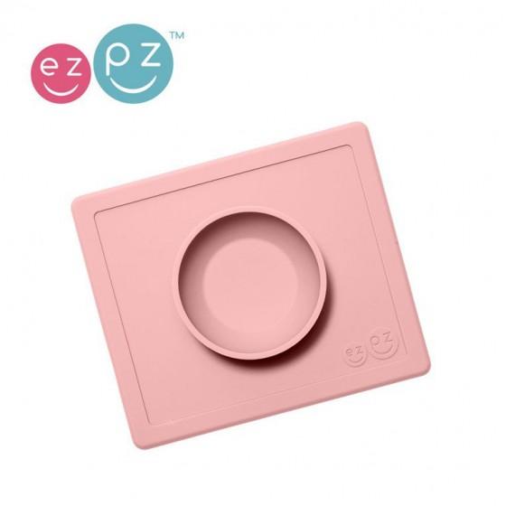 EZPZ Silikonowa miseczka z podkladka 2w1 Happy Bowl pastelowy róz