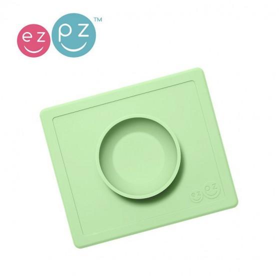 EZPZ Silikonowa miseczka z podkladka 2w1 Happy Bowl pastelowa zielen