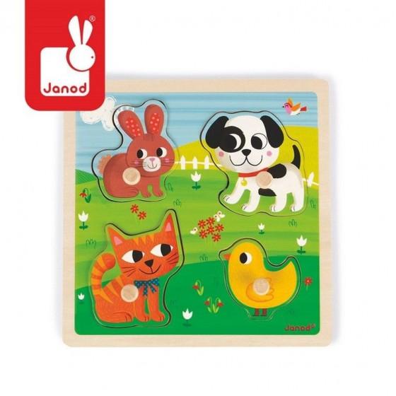 """Janod, Puzzle sensoryczne drewniane """"Moje pierwsze zwierzątka"""""""