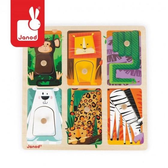 """Puzzle sensoryczne drewniane """"Zwierzątka w ZOO"""", Janod"""