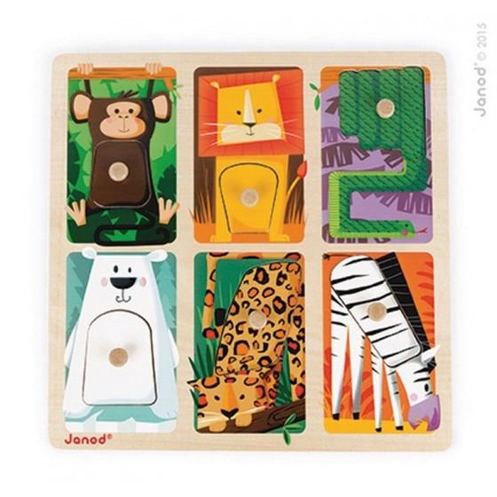 """Janod, Puzzle sensoryczne drewniane """"Zwierzątka w ZOO"""""""