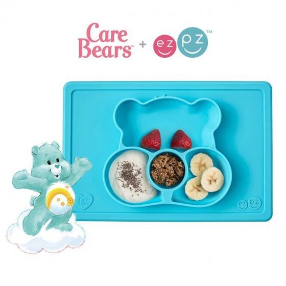 EZPZ Silikonowy talerzyk z podkladka 2w1 Care Bears™ Mat Misia Zyczliwe Serce Wish Bear turkusowy