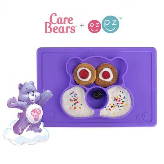 EZPZ Silikonowy talerzyk z podkladka 2w1 Care Bears™ Mat Miska Share Bear fioletowy