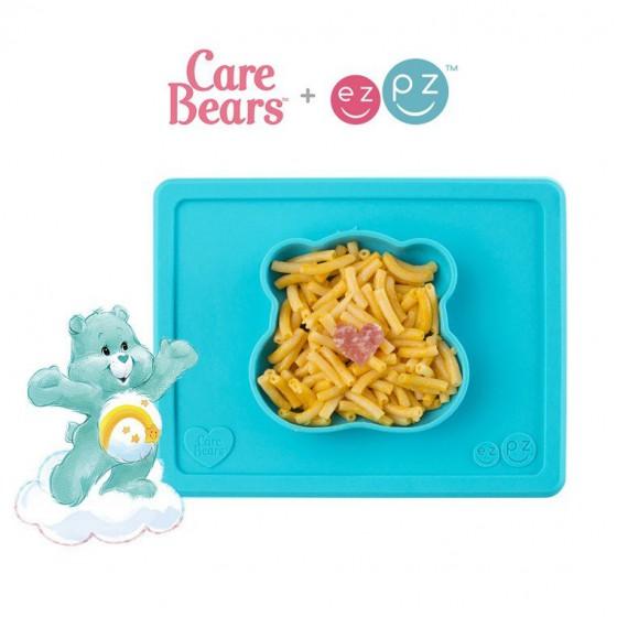 EZPZ Silikonowa miseczka z podkladka 2w1 Care Bears™ Bowl Misia Zyczliwe Serce Wish Bear turkusowa
