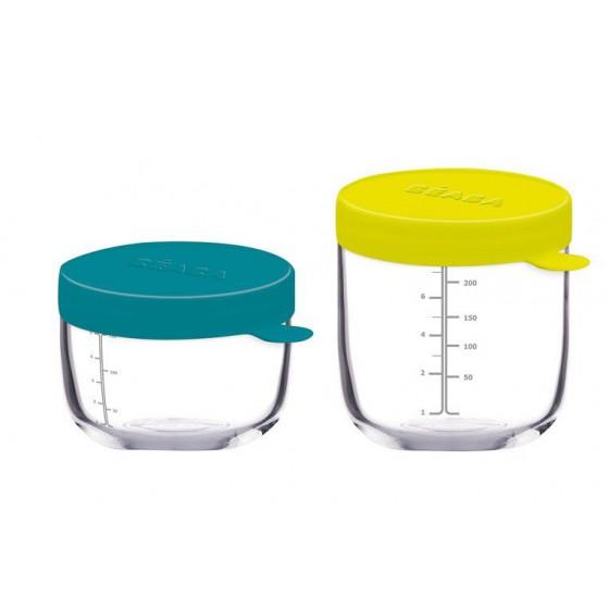 Beaba Zestaw pojemników sloiczków szklanych z hermetycznym zamknieciem 150 + 250 ml blue i neon