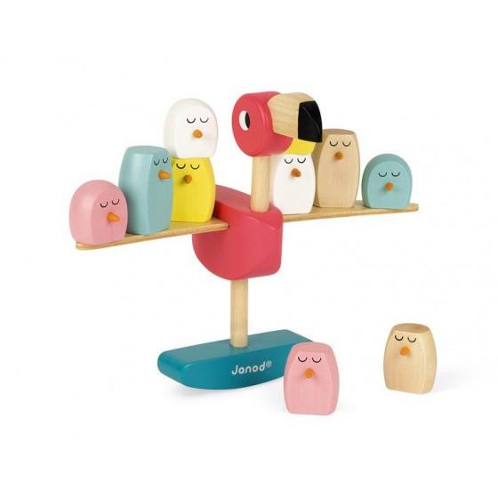 Janod Gra balansowa drewniana Flamingi