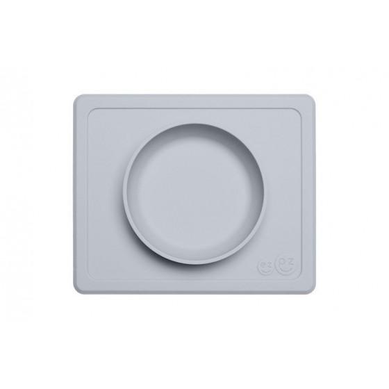 EZPZ Silikonowa miseczka z podkladka 2w1 Mini Bowl pastelowa szarosc