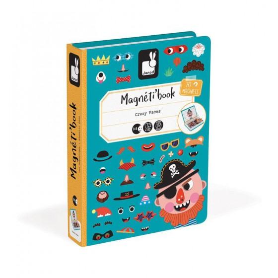 Janod Magnetyczna ukladanka Smieszne buzie Chlopiec Magnetibook kolekcja 2018