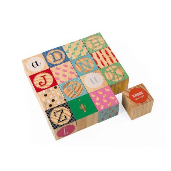 Janod Klocki drewniane Kubix 16 sztuk Alfabet