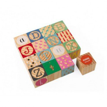 Janod Wooden blocks Kubix 16 pieces Alphabet