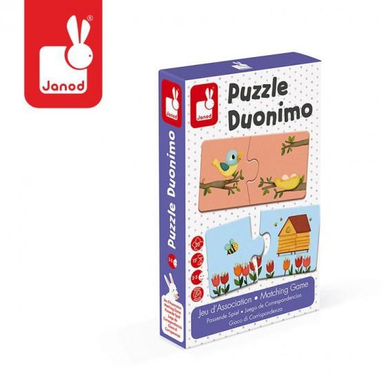 Janod Dwuczesciowe puzzle Zwierzeta i ich domki 20 elementów
