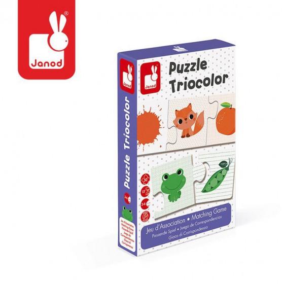 Janod Trzyczesciowe puzzle Kolory 30 elementów
