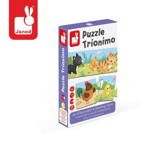 Janod Trzyczesciowe puzzle Zwierzeta i ich dzieci 30 elementów