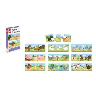 The three-part puzzle Janod Animals and their children 30 pieces