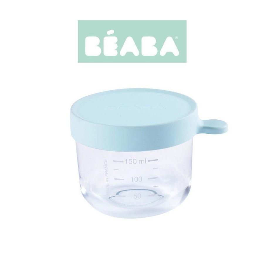 Beaba Pojemnik sloiczek szklany z hermetycznym zamknieciem 150 ml light blue