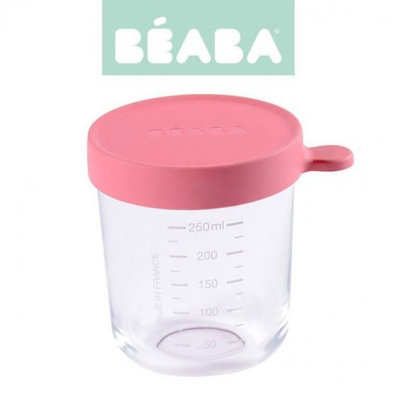 Beaba Pojemnik sloiczek szklany z hermetycznym zamknieciem 250 ml dark pink