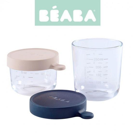 Beaba Zestaw pojemników sloiczków szklanych z hermetycznym zamknieciem 150 + 250 ml pink i dark blue