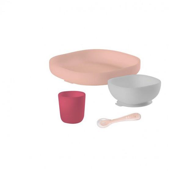 Beaba Komplet naczyn z silikonu z przyssawka pink