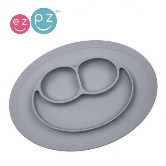 EZPZ Silikonowy talerzyk talerz z podkładką mały 2w1 Mini Mat szary