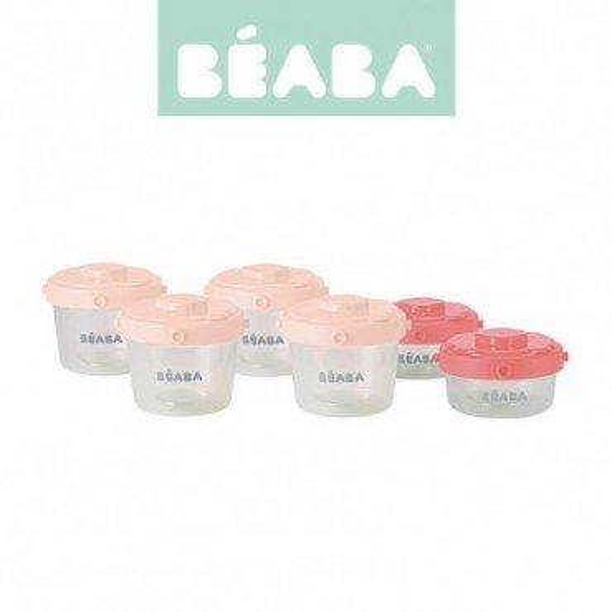 Beaba Zestaw sloiczków Clip 6 szt. 60 ml i 120 ml pink